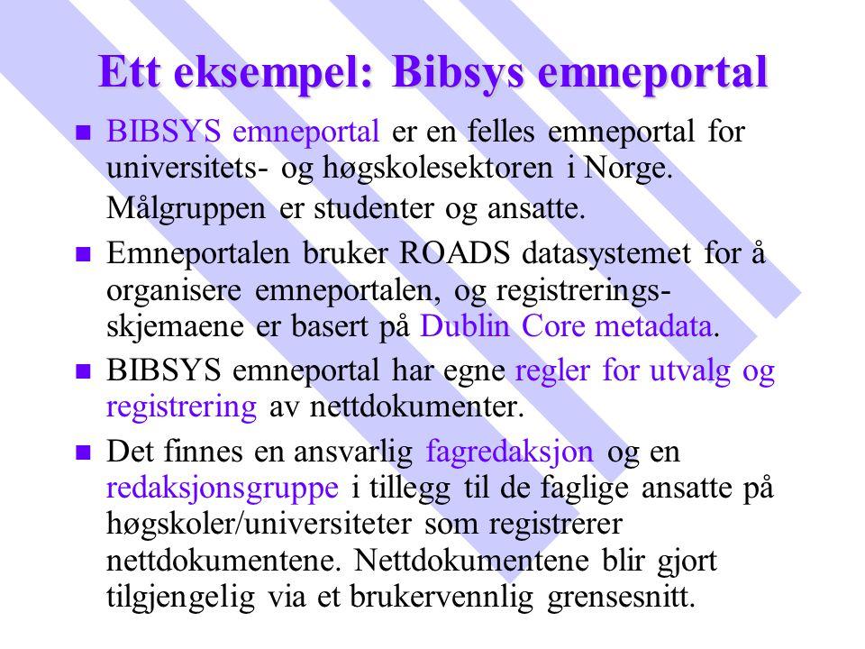 Ett eksempel: Bibsys emneportal