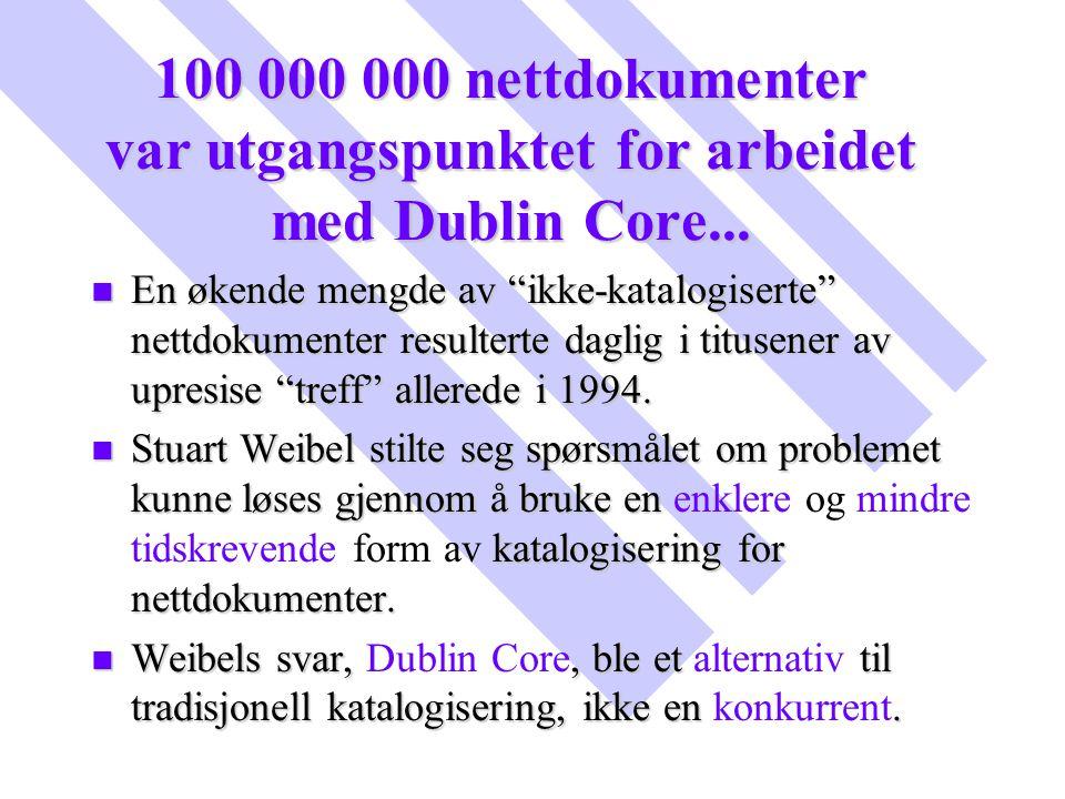 100 000 000 nettdokumenter var utgangspunktet for arbeidet med Dublin Core...
