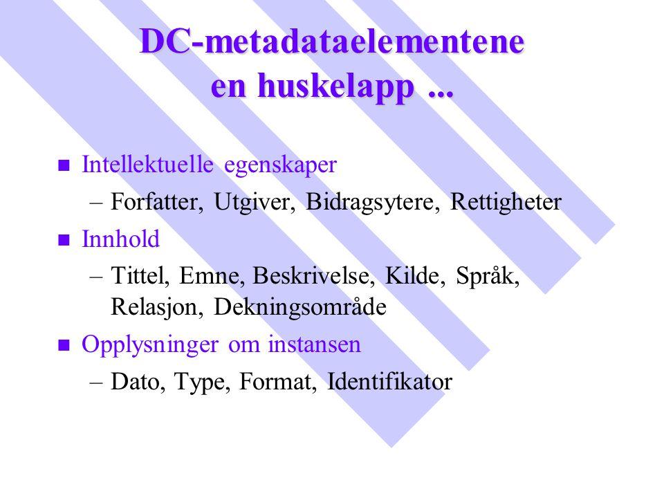 DC-metadataelementene en huskelapp ...
