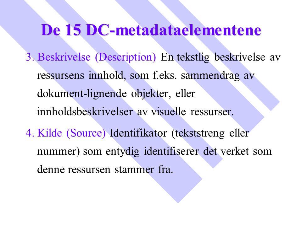 De 15 DC-metadataelementene