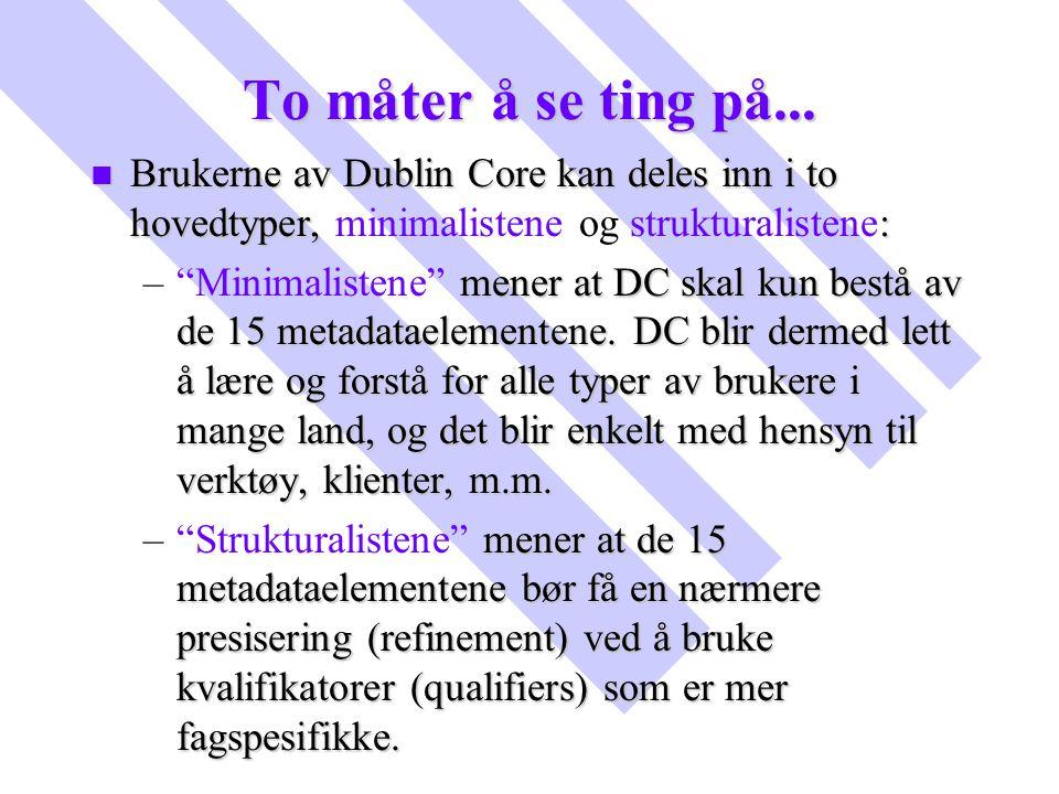 To måter å se ting på... Brukerne av Dublin Core kan deles inn i to hovedtyper, minimalistene og strukturalistene: