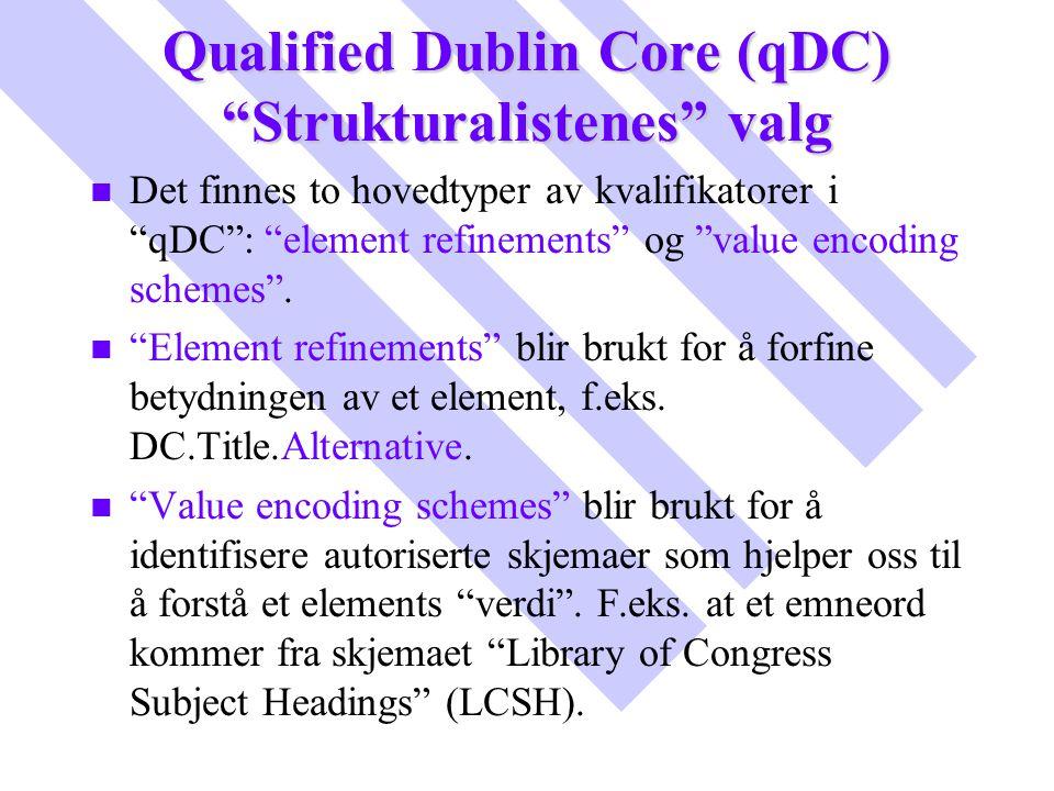 Qualified Dublin Core (qDC) Strukturalistenes valg