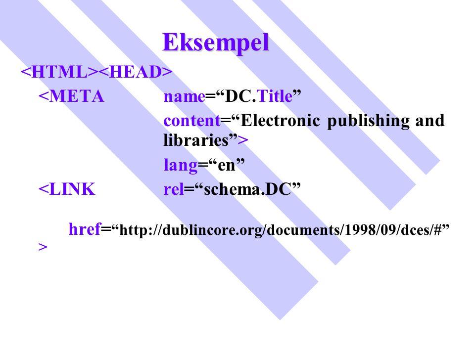 Eksempel <HTML><HEAD> <META name= DC.Title