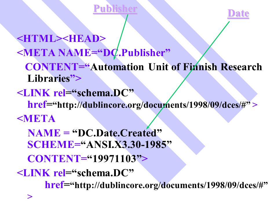 Publisher Date. <HTML><HEAD> <META NAME= DC.Publisher CONTENT= Automation Unit of Finnish Research Libraries >