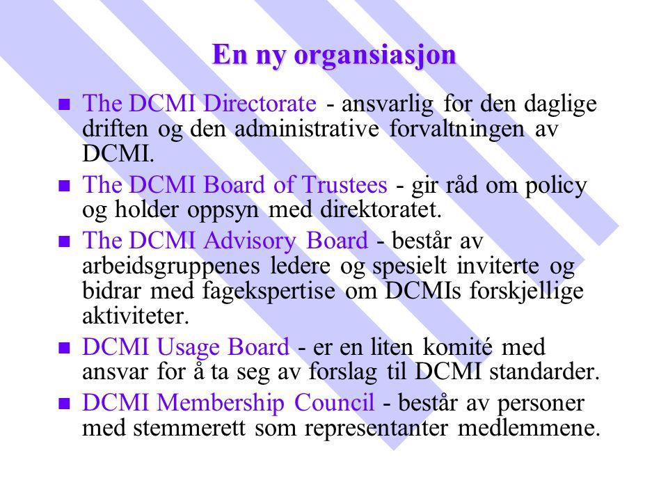En ny organsiasjon The DCMI Directorate - ansvarlig for den daglige driften og den administrative forvaltningen av DCMI.