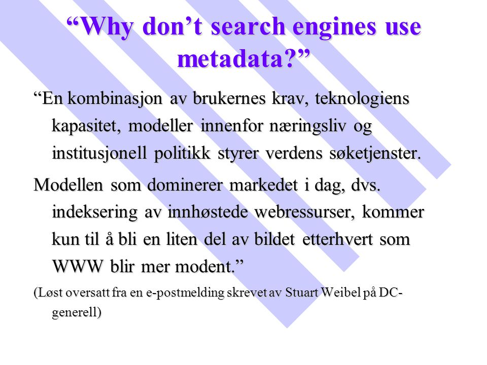 Why don't search engines use metadata