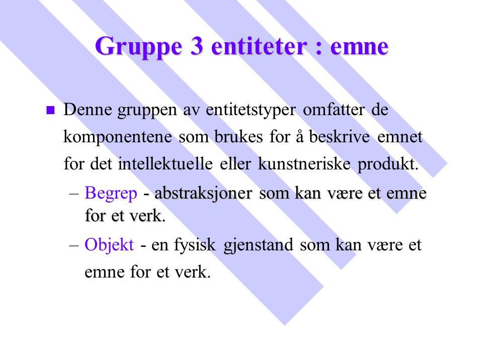 Gruppe 3 entiteter : emne