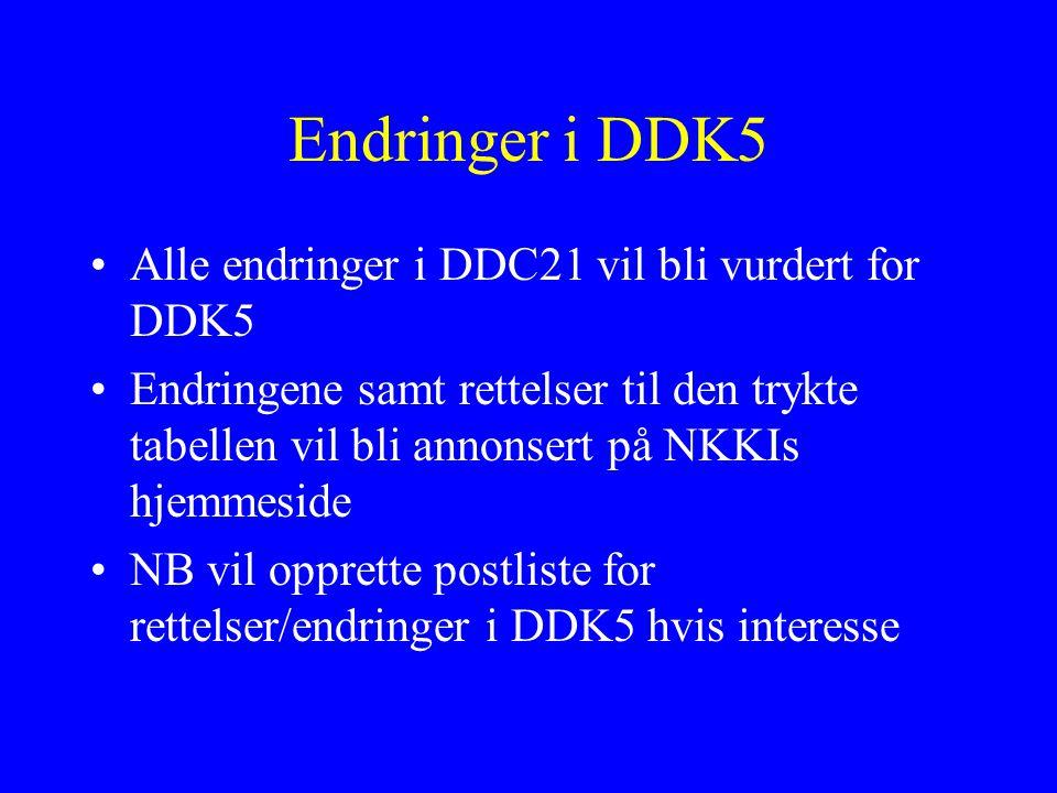 Endringer i DDK5 Alle endringer i DDC21 vil bli vurdert for DDK5