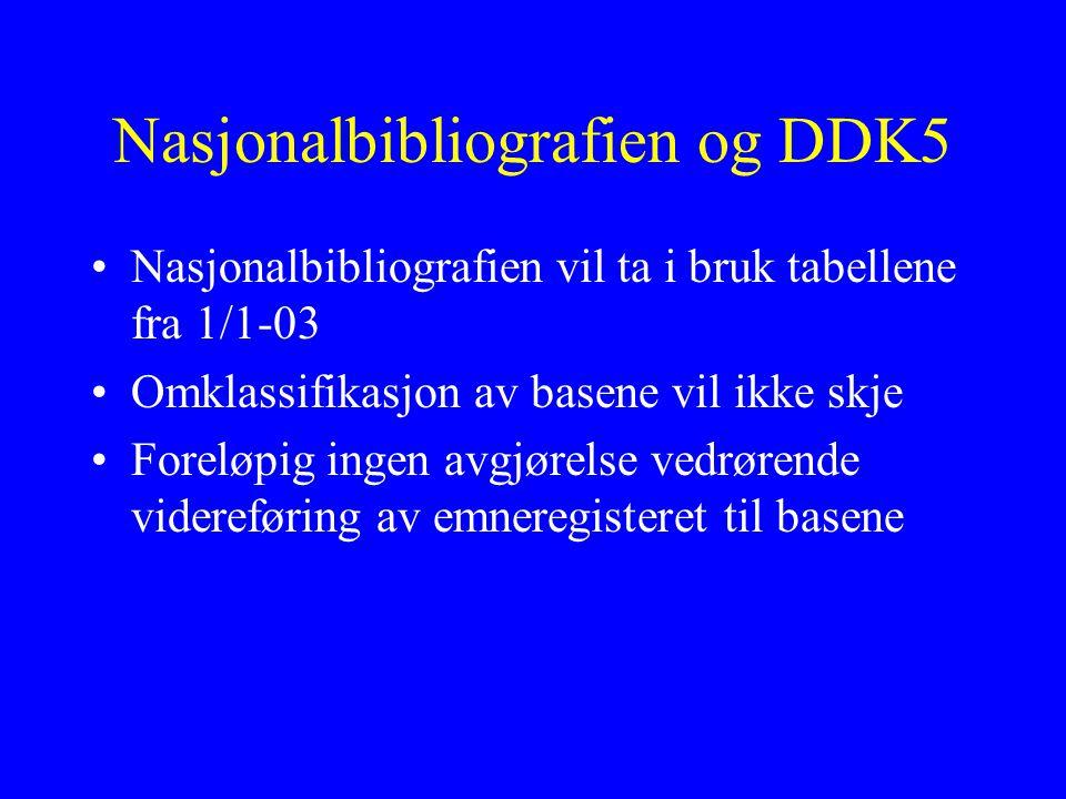 Nasjonalbibliografien og DDK5