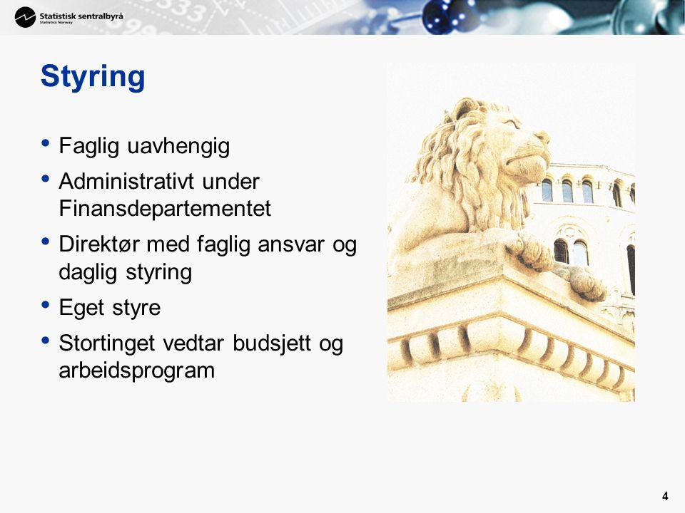 Styring Faglig uavhengig Administrativt under Finansdepartementet