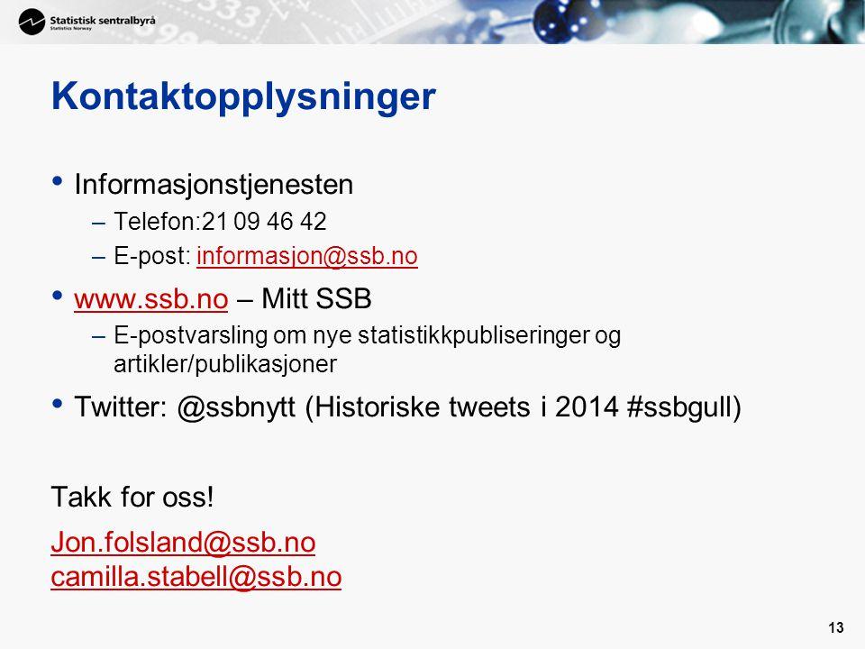 Kontaktopplysninger Informasjonstjenesten www.ssb.no – Mitt SSB