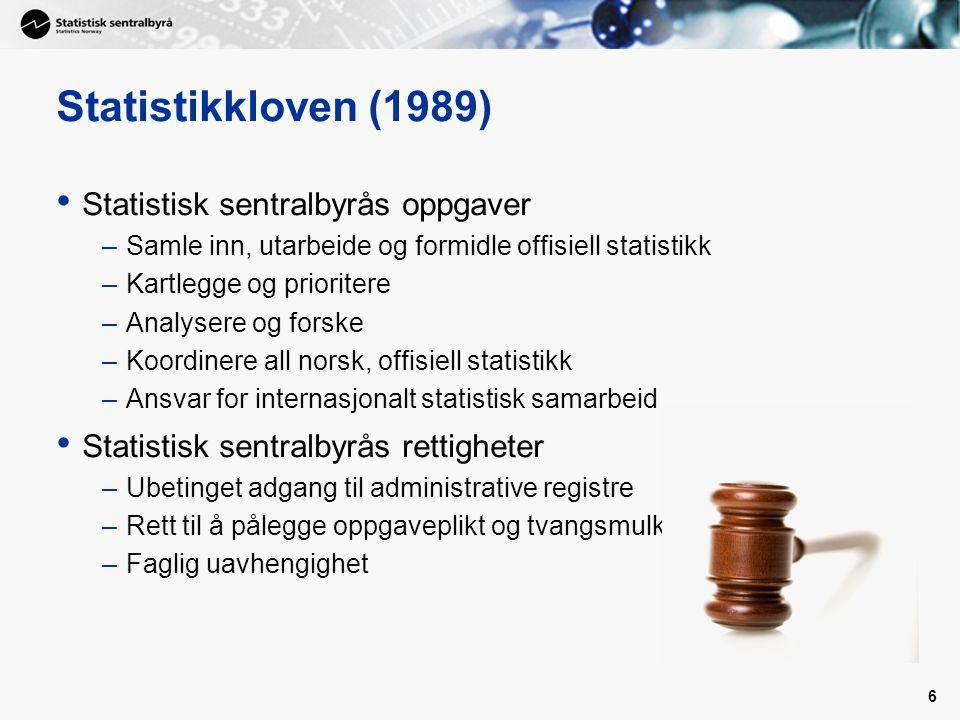 Statistikkloven (1989) Statistisk sentralbyrås oppgaver