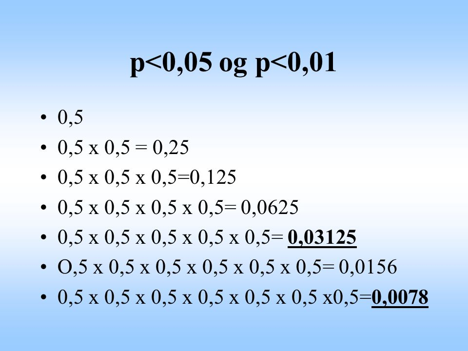 p<0,05 og p<0,01 0,5. 0,5 x 0,5 = 0,25. 0,5 x 0,5 x 0,5=0,125. 0,5 x 0,5 x 0,5 x 0,5= 0,0625. 0,5 x 0,5 x 0,5 x 0,5 x 0,5= 0,03125.