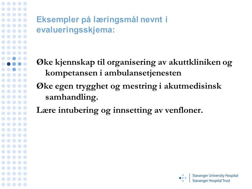 Eksempler på læringsmål nevnt i evalueringsskjema: