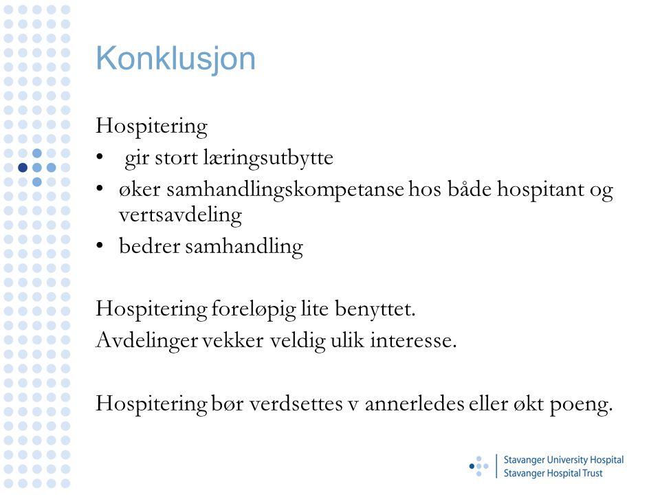 Konklusjon Hospitering gir stort læringsutbytte