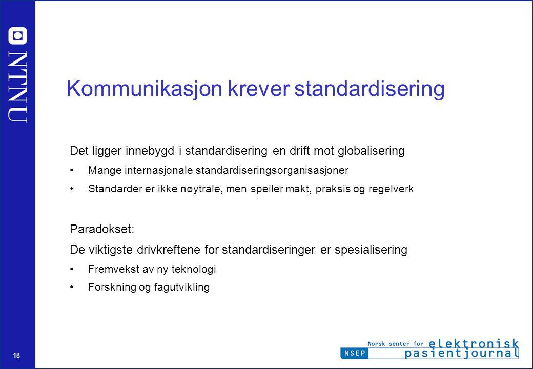 Kommunikasjon krever standardisering