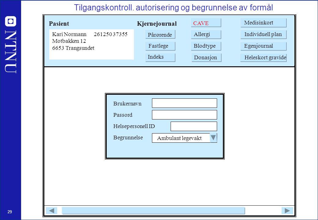 Tilgangskontroll. autorisering og begrunnelse av formål