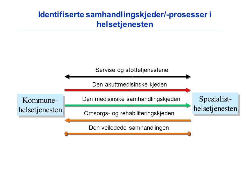 Identifiserte samhandlingskjeder/-prosesser i helsetjenesten
