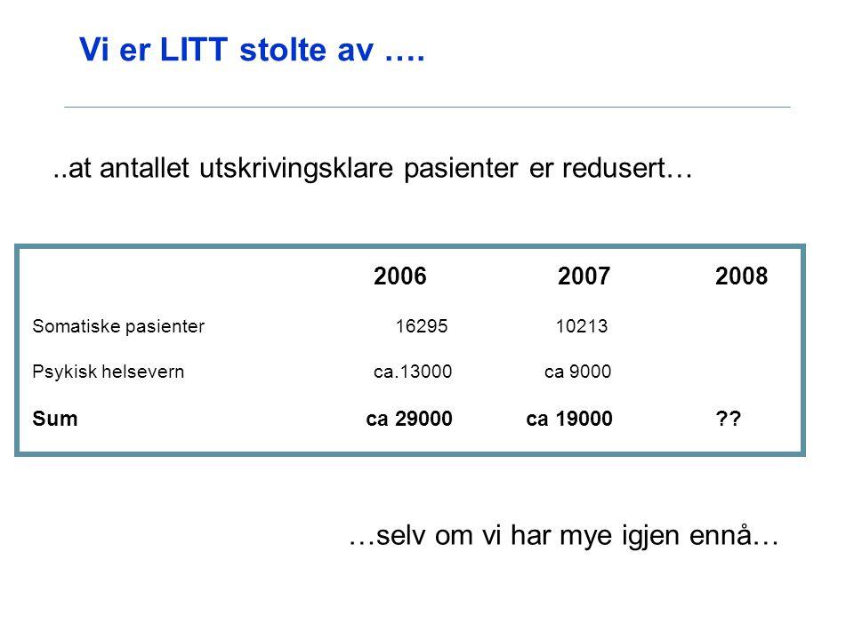 Vi er LITT stolte av …. ..at antallet utskrivingsklare pasienter er redusert… 2006 2007 2008.