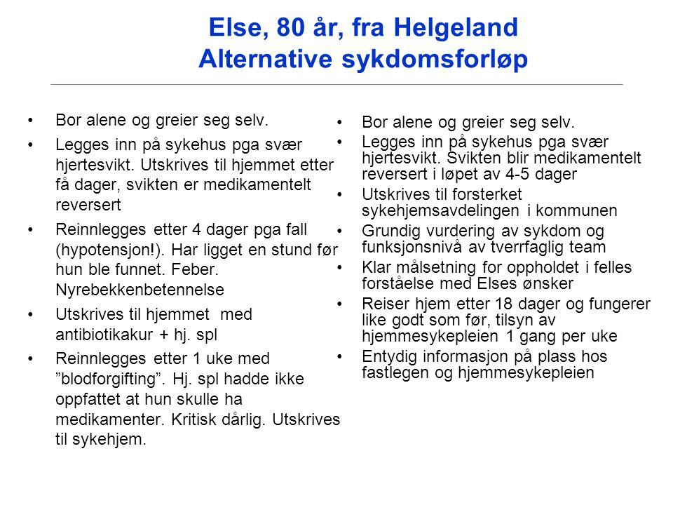 Else, 80 år, fra Helgeland Alternative sykdomsforløp