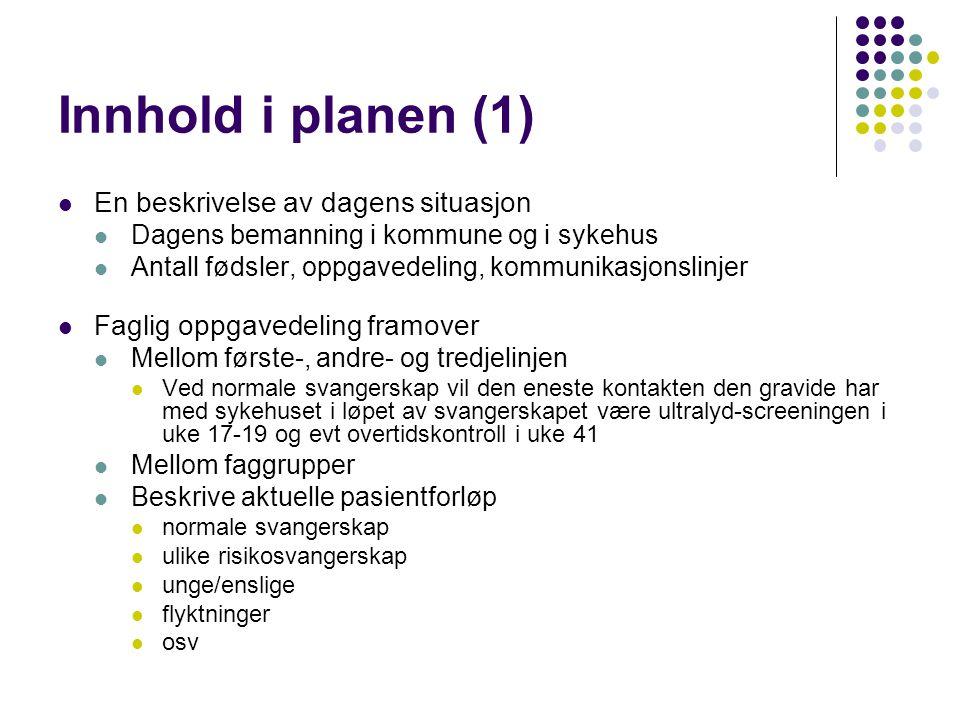 Innhold i planen (1) En beskrivelse av dagens situasjon