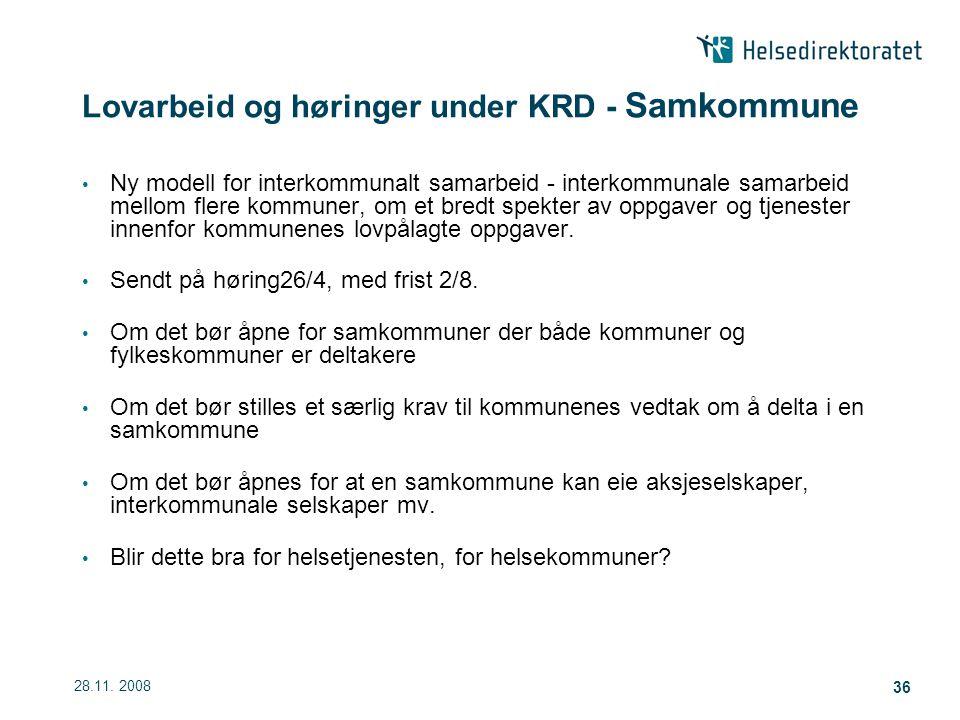 Lovarbeid og høringer under KRD - Samkommune
