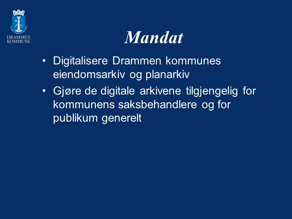 Mandat Digitalisere Drammen kommunes eiendomsarkiv og planarkiv