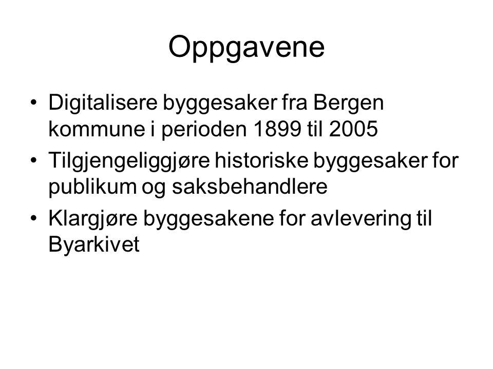 Oppgavene Digitalisere byggesaker fra Bergen kommune i perioden 1899 til 2005.