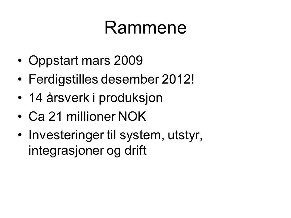 Rammene Oppstart mars 2009 Ferdigstilles desember 2012!