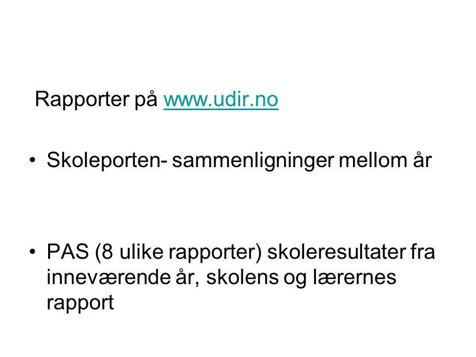 Rapporter på www.udir.no
