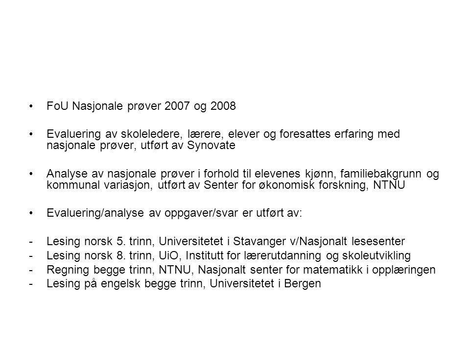 FoU Nasjonale prøver 2007 og 2008