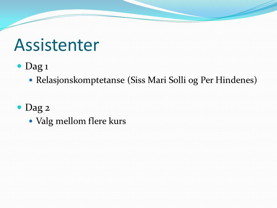 Assistenter Dag 1. Relasjonskomptetanse (Siss Mari Solli og Per Hindenes) Dag 2.