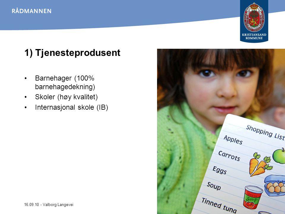 1) Tjenesteprodusent Barnehager (100% barnehagedekning)