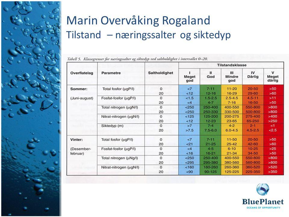 Marin Overvåking Rogaland Tilstand – næringssalter og siktedyp