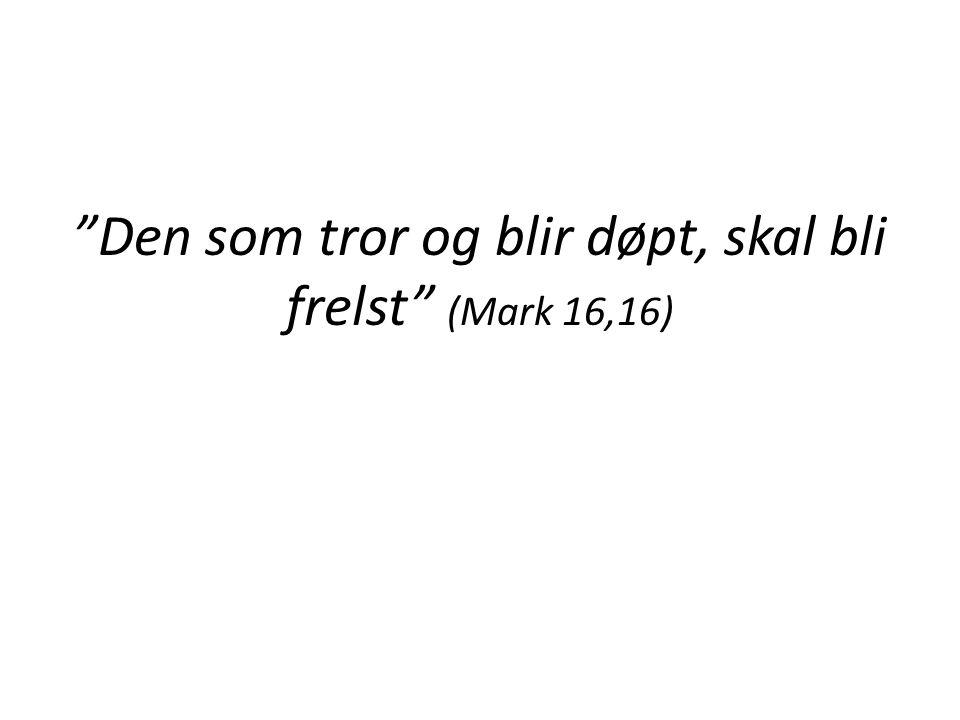 Den som tror og blir døpt, skal bli frelst (Mark 16,16)