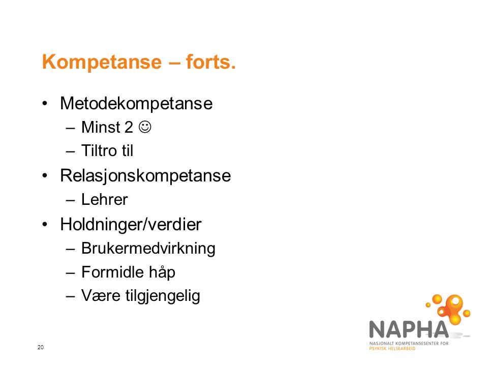 Kompetanse – forts. Metodekompetanse Relasjonskompetanse
