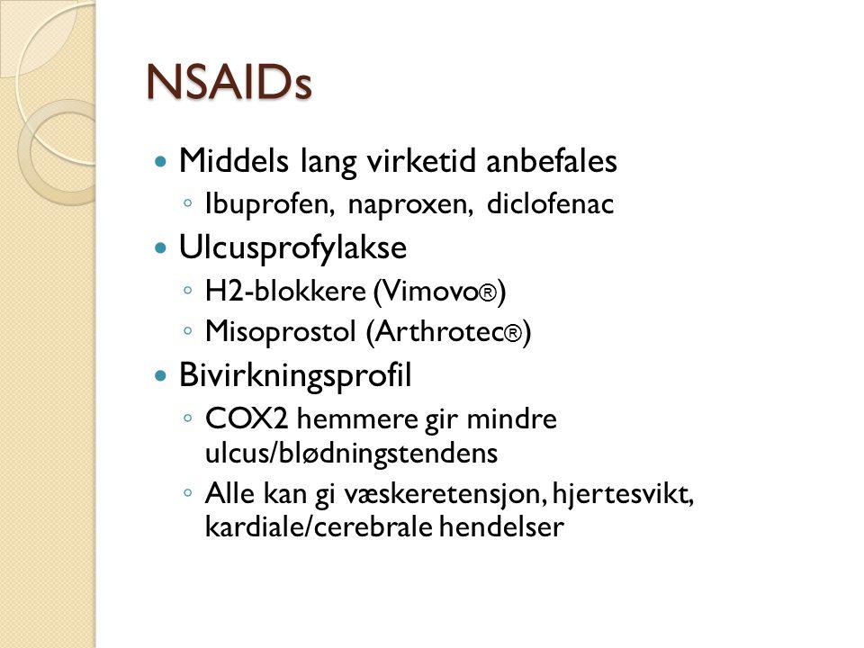 NSAIDs Middels lang virketid anbefales Ulcusprofylakse