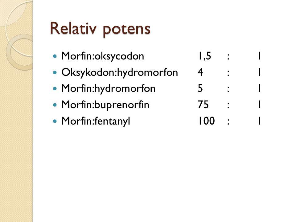 Relativ potens Morfin:oksycodon 1,5 : 1 Oksykodon:hydromorfon 4 : 1