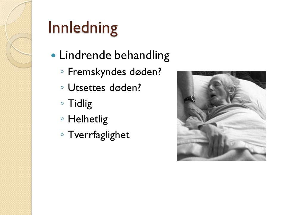 Innledning Lindrende behandling Fremskyndes døden Utsettes døden