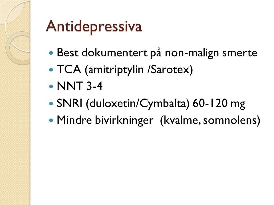 Antidepressiva Best dokumentert på non-malign smerte
