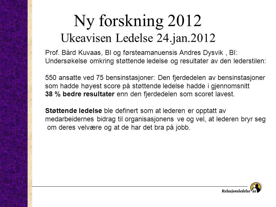 Ny forskning 2012 Ukeavisen Ledelse 24.jan.2012