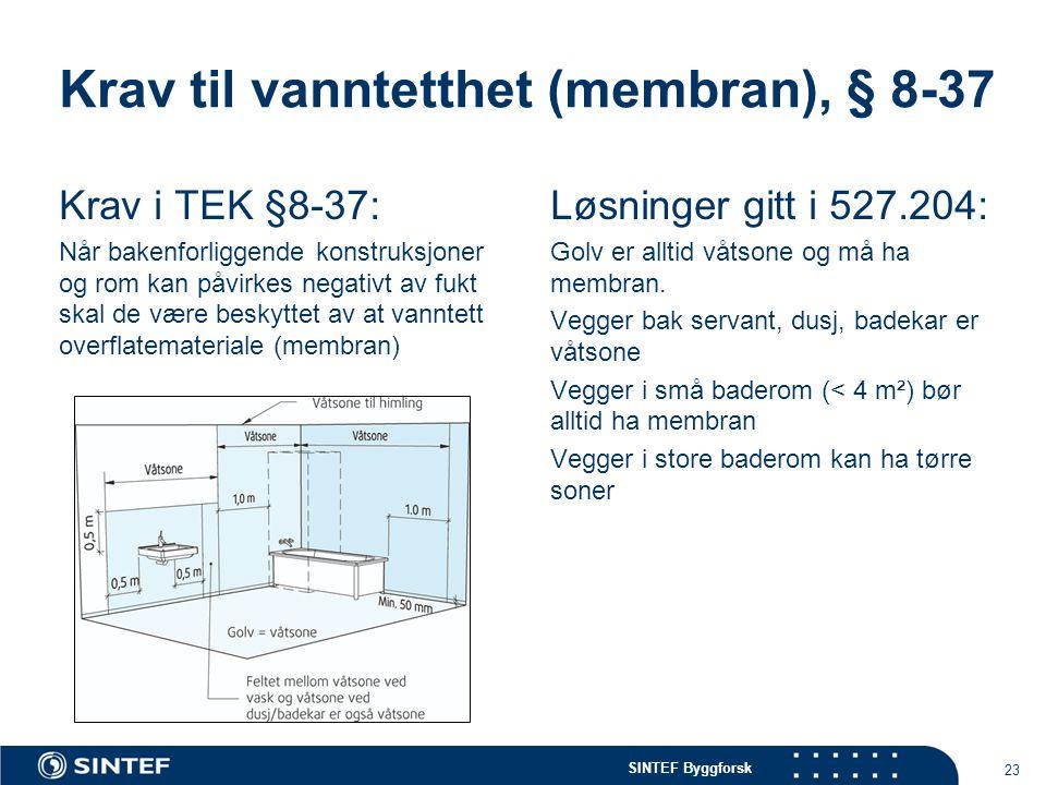 Krav til vanntetthet (membran), § 8-37