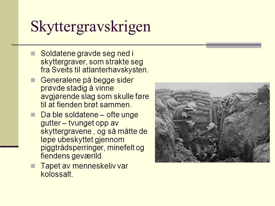 Skyttergravskrigen Soldatene gravde seg ned i skyttergraver, som strakte seg fra Sveits til atlanterhavskysten.