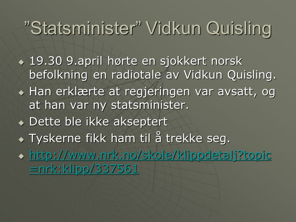 Statsminister Vidkun Quisling