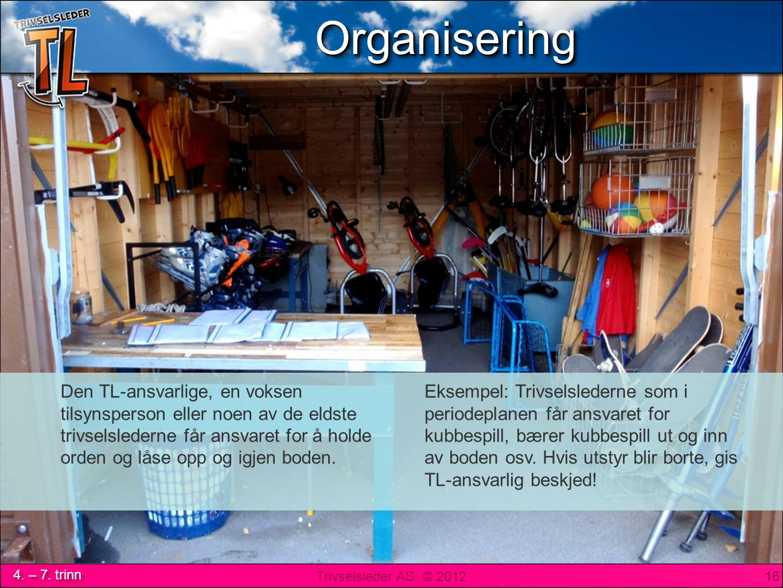 Utstyrsbod: Organisering