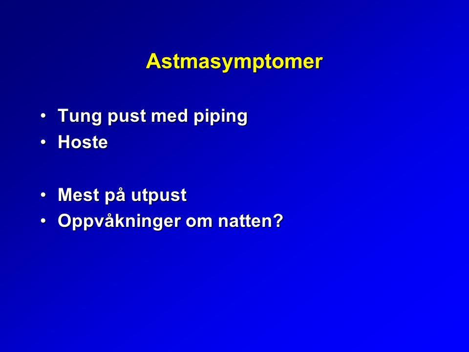 Astmasymptomer Tung pust med piping Hoste Mest på utpust
