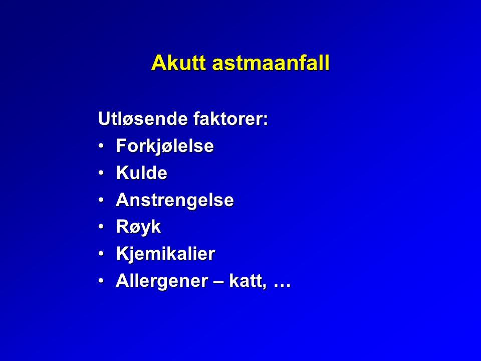 Akutt astmaanfall Utløsende faktorer: Forkjølelse Kulde Anstrengelse