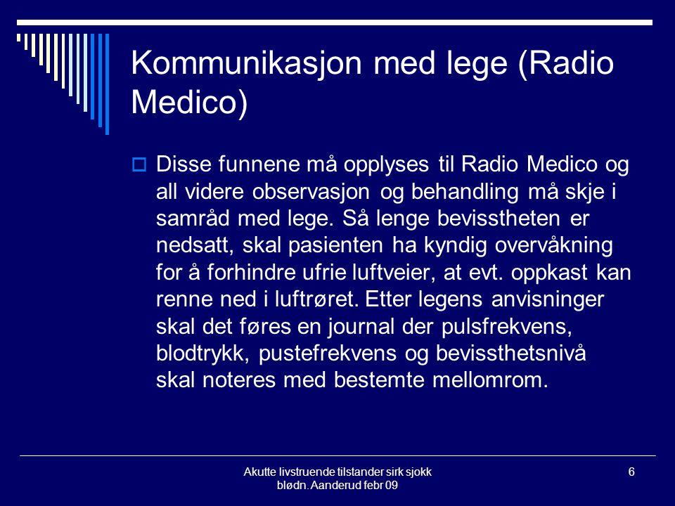 Kommunikasjon med lege (Radio Medico)