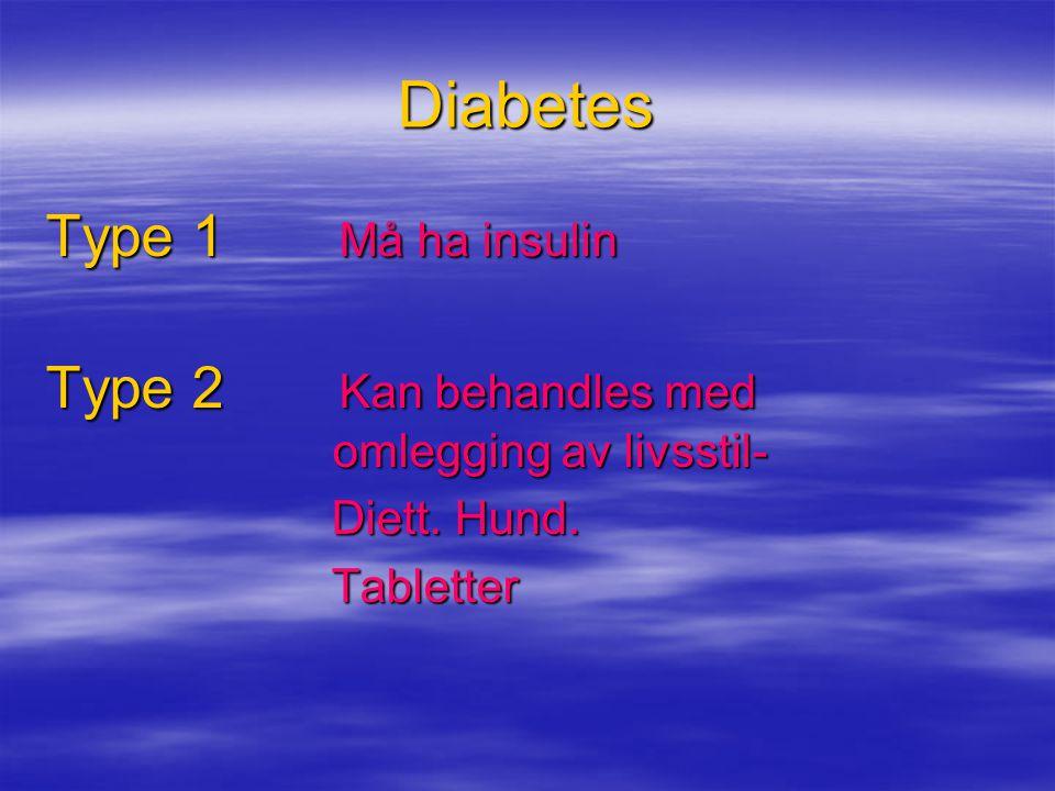 Diabetes Type 1 Må ha insulin