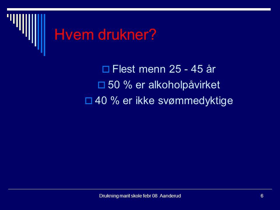 Hvem drukner Flest menn 25 - 45 år 50 % er alkoholpåvirket